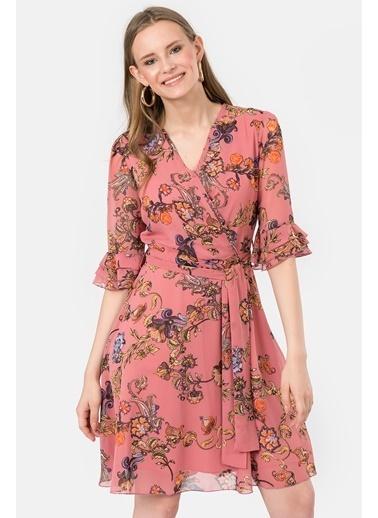 İroni Çiçekli Şifon Elbise Pembe